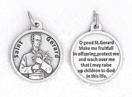 25-Pack - 3/4 inch Silver Plated St Gerard Pendant with Prayer on back