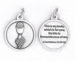 25-Pack - 3/4 inch Silver Plated Chalice Pendant with Prayer on back