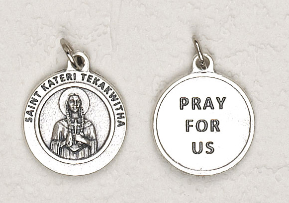 25-Pack - 3/4 inch Silver Plated St Kateri Pendant with Prayer on back