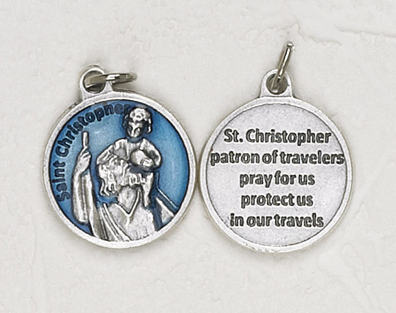 12-Pack - Saint Christopher Blue Enameled 3/4 inch Pendant with prayer on back