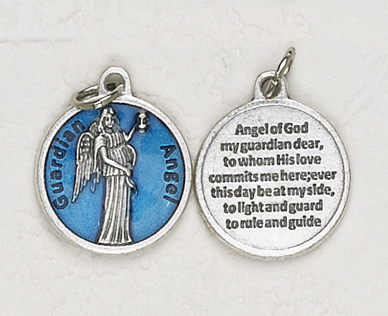 12-Pack - Guardian Angel  Blue Enameled 3/4 inch Pendant with prayer on back