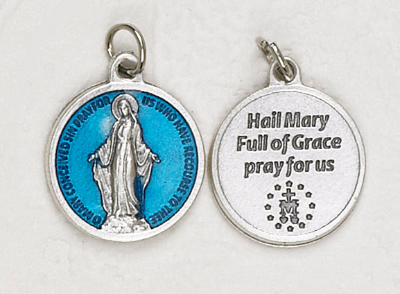 12-Pack - Miraculous Medal  Blue Enameled 3/4 inch Pendant with prayer on back