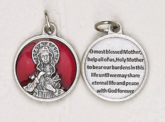 12-Pack - Immaculate Heart Red Enameled 3/4 inch Pendant with prayer on back