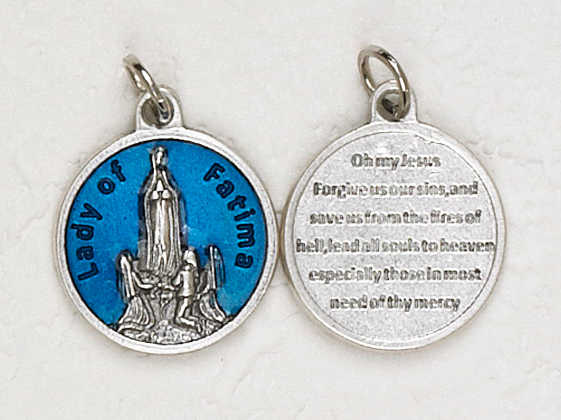 12-Pack - Our Lady of Fatima Blue Enameled 3/4 inch Pendant with prayer on back