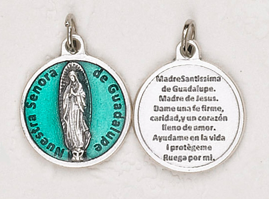 12-Pack - Our Lady of Guadalupe (Spanish) Green  Enameled 3/4 inch Pendant with prayer on back