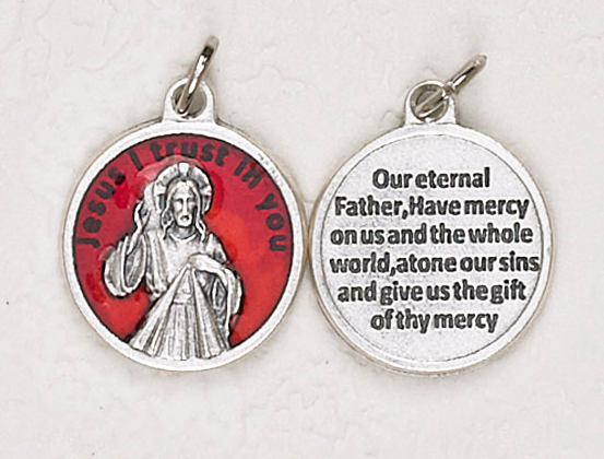 12-Pack - Divine Mercy Red Enameled 3/4 inch Pendant with prayer on back