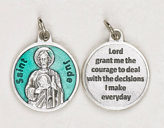 12-Pack - St Jude Green Enameled 3/4 inch Pendant with prayer on back