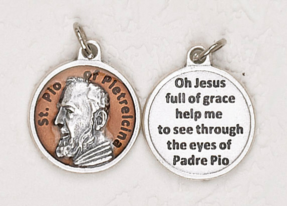 12-Pack - St Pio of Pietrelcina Brown Enameled 3/4 inch Pendant with prayer on back