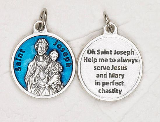 12-Pack - St Joseph Blue Enameled 3/4 inch Pendant with prayer on back