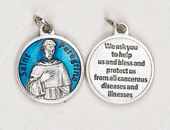 12-Pack - St Peregrine Blue Enameled 3/4 inch Pendant with prayer on back
