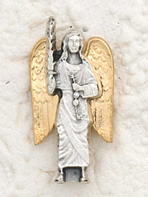 6-Pack - Two Tone 18K Gold Plated and Silver Lapel Pin with Archangel Michael