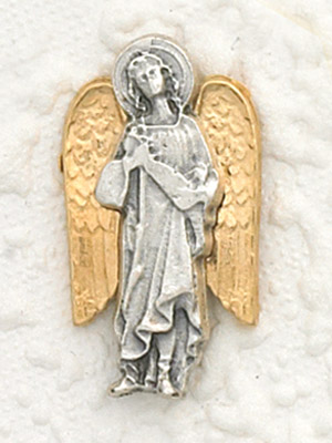 6-Pack - Two Tone 18K Gold Plated and Silver Lapel Pin with Archangel Raphael