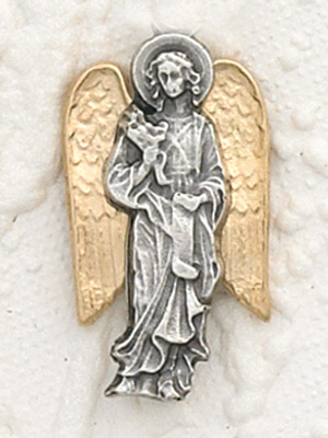 6-Pack - Two Tone 18K Gold Plated and Silver Lapel Pin with Archangel Gabriel