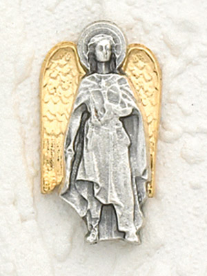 6-Pack - Two Tone 18K Gold Plated and Silver Lapel Pin with Archangel Uriel