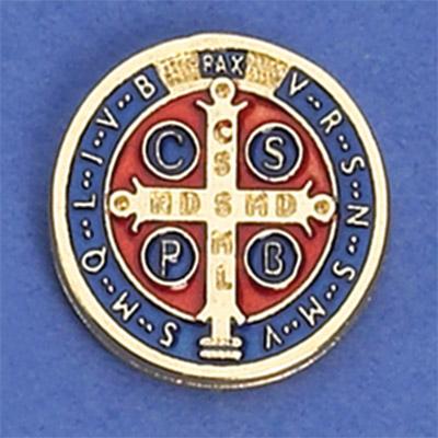 12-Pack - Saint Benedict Pendant (Silver) lapel Pin 1/2 inch