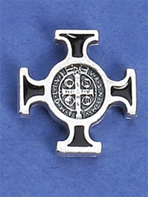 12-Pack - Saint Benedict Cross (Silver/Black) Lapel Pin