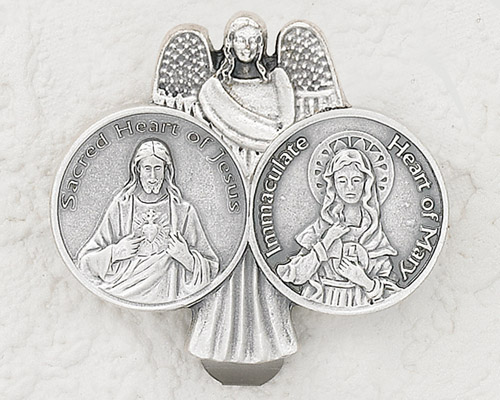 3-Pack - Car Visor- SACRED HEART OF JESUS/ IMMACULATE HEART OF MARY with Angel