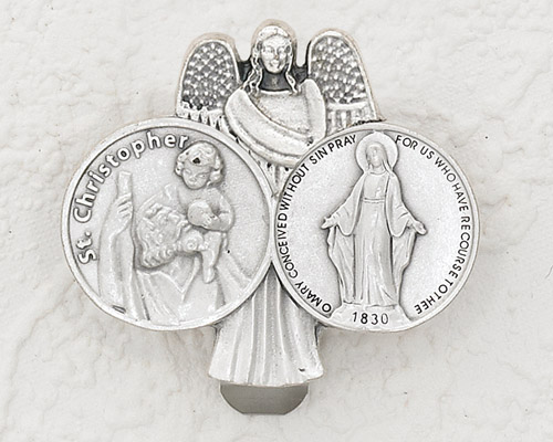 3-Pack - CAR VISOR- Saint Christopher/ Lady of Grace with Angel