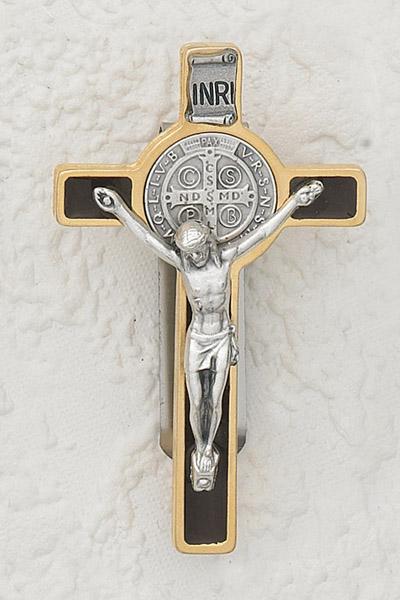 3-Pack - Car Visor- Saint Benedict Black/Gold Enamel - 3 inch with clip