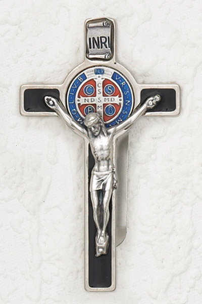 3-Pack - St Benedict Black Enameled with Enameled Pendant Visor Clip