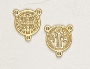 25-Pack - Gold 3/4 inch Saint Benedict Pendant Center