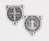 12-Pack - Enameled Blue/Red  3/4 inch Saint Benedict Pendant Center