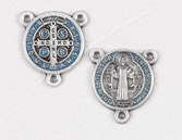 12-Pack - Enameled Light Blue/Red  3/4 inch Saint Benedict Pendant Center