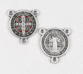 12-Pack - Enameled Brown/Red  3/4 inch Saint Benedict Pendant Center