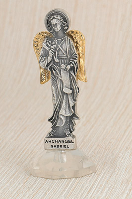 6-Pack - 24 Karat Gold Plated Archangel Gabriel Adhesive Car Statuette