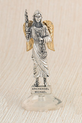 6-Pack - 24 Karat Gold Plated Archangel Michael Adhesive Car Statuette