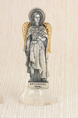 6-Pack - 24 Karat Gold Plated Archangel Uriel Adhesive Car Statuette