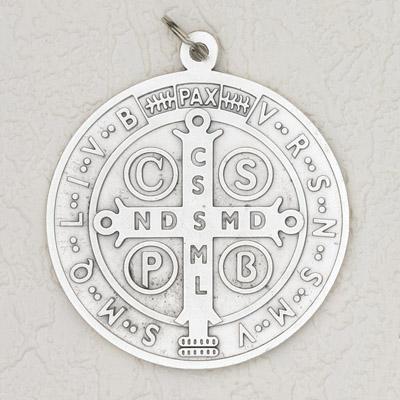 4 inch Silver St Benedict Door Pendant