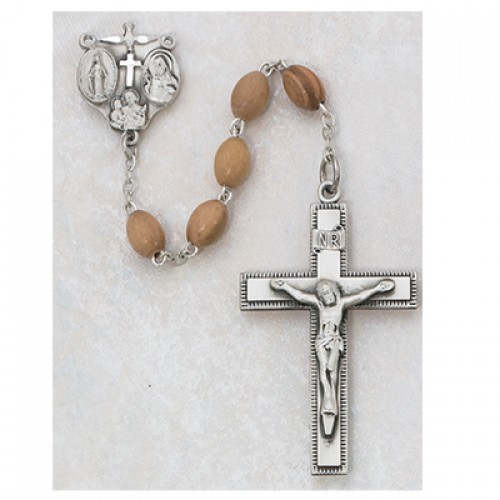 Sterling Silver 4X6MM Olive Wood  Rosary