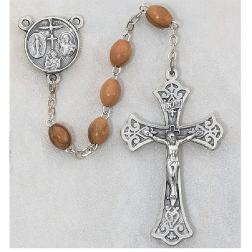 Sterling Silver 5X7MM Olive Wood Rosary