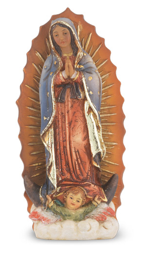 "4"" Our Lady of Guadalupe Resin Statue"