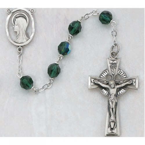 Sterling Silver 7MM Green Glass Rosary