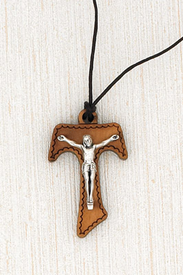 12-Pack - 1-1/2 inch Wood Tau Crucifix with Card - Corded