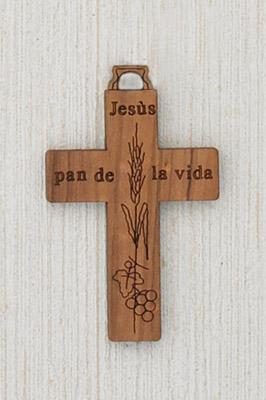 "12-Pack - 1-1/4"" Wood Cross with 'Pan de la vida' writing in Spanish Corded"