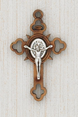 12-Pack - 1-1/2 Inch St Benedict Cross Wood, with Silver Corpus