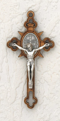 3 Inch Wood Cross & Silver Corpus