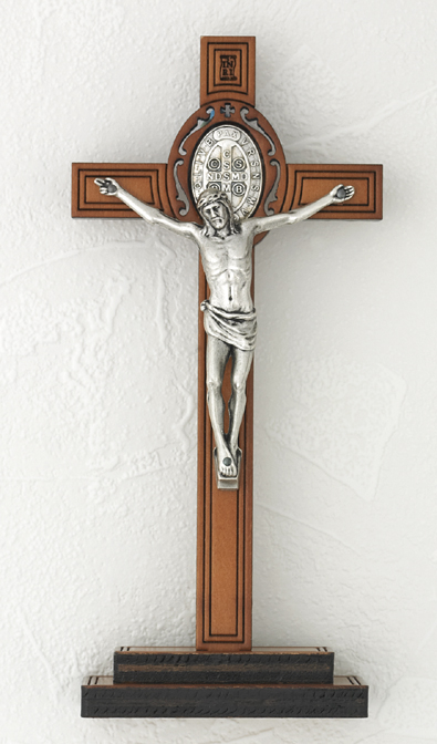 8 inch Wood St Benedict Cross on wood base