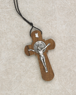 3 inch Wood St Benedict Cross with Cord and Leaflet