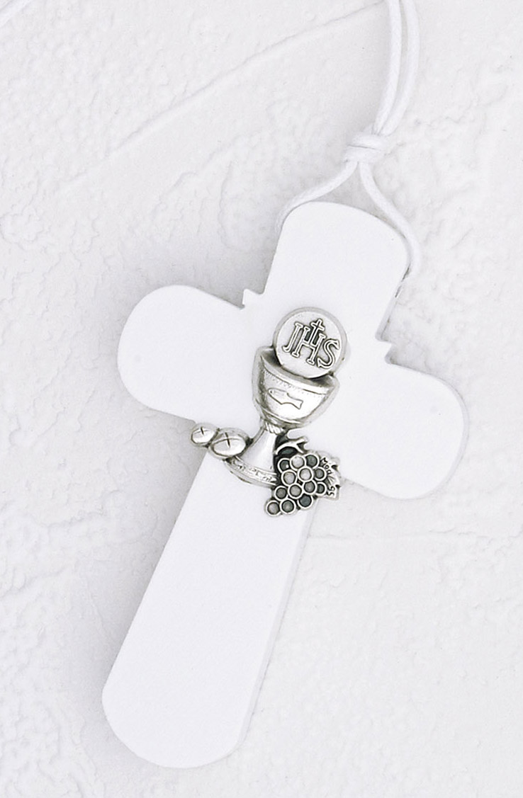 3 inch Wood First Communion Cross with Cord- White