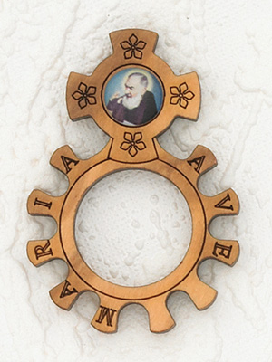 12-Pack - Wood Finger Rosary with image of Padre Pio