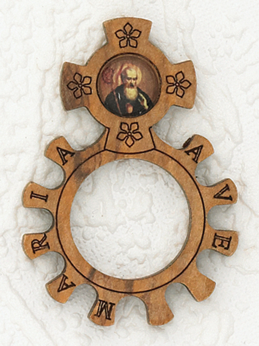12-Pack - Wood Finger Rosary with image of St Benedict