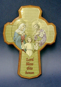 "Wooden ""Lord Bless This House"" cross with Holy Family Boxed"