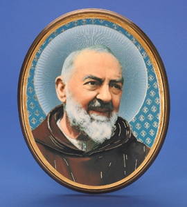 "Oval Wooden Padre Pio Plaque- 12"" Boxed"