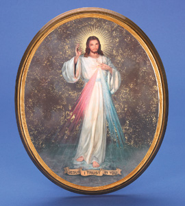 "Large Oval Wooden Divine Mercy Plaque- 17"" Boxed"