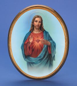"Large Oval Wooden Sacred Heart Plaque- 17"" Boxed"