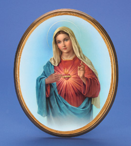 "Large Oval Wooden Immaculate Heart Plaque- 17"" Boxed"